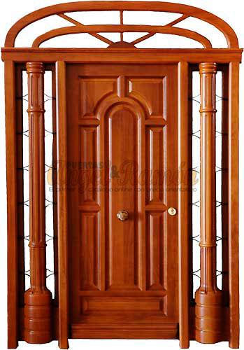 Modelo p 1 puerta exterior de madera cl sica for Modelo de puertas de madera exteriores