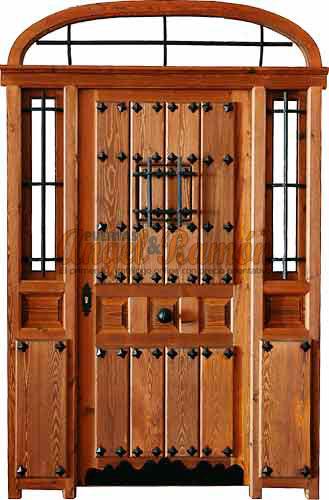 Modelo r 20 puerta r stica de madera exterior for Puertas principales de madera rusticas