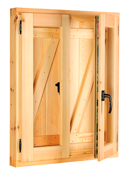 Ventana madera r stica zeta v 16 for Ventanas de madera rusticas precio