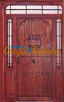porton-madera-rustico-estilo arabe-amedida-emvejecido.puerta-artesanal-clavos-rejas-forja-montante-2laterales-pino-iroko