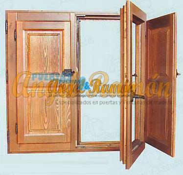 ventana europea madera rustica pino contraventana a medida con gomas