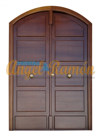 Puerta-moderna-iroko-2 hojas-pino-exterior-calle-barata-oferta-maciza-