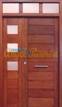 Puerta-moderna-iroko-fijo,montante,laterales-entrada-exterior-pino-rayada-a medida-oferta-barata