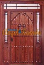 porton-madera-rustico-modelo pico- arabe-amedida-emvejecido.puerta-artesanal-clavos-rejas-forja-montante-2laterales-pino-iroko