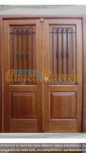 Puerta-calle-clasica-2 hojas -con reja forja-