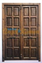 puerta de madera exterior doble hoja cuadros-rustica-castellana-artesanal-emvejecidas-pino-iroko-oferta-barata-amedida-porton -entrada