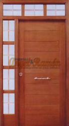 Puerta-moderna-iroko-fijo,montante,laterales-pino-calle-exterior-barata-oferta-a medida-rayada