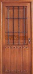 puerta madera rustica clavos reja forja pino iroko a medida 1hoja barnizada