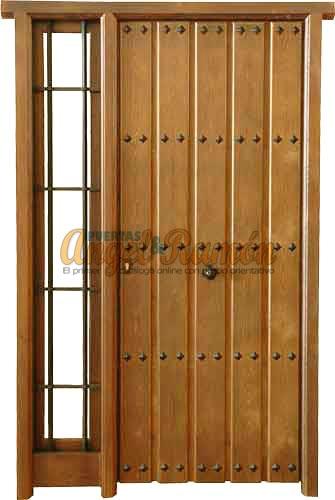 Puertas de madera con fijos y montantes for Puerta madera rustica