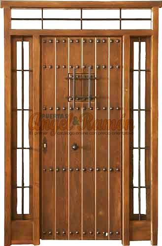 Puertas de madera con ventanuco - Puerta rustica exterior ...